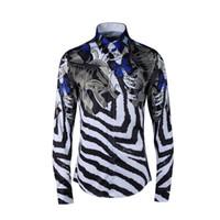 balık baskı elbise toptan satış-Moda Lüks Fantezi Gömlek Erkekler Rahat Gömlek Erkekler sosyal elbise Gömlek İtalyan Slim Fit Balık Zebra Çizgili baskılı Smokin Gömlek
