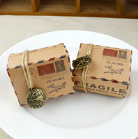 vintage print boxes 2018 - Vintage Kraft Paper Candy Box Travel Theme Airplane Air Mail Gift Packaging Boxes Wedding Souvenirs Wedding Favor