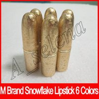 Wholesale wholesale paste lipstick online - Newest M brand Lip cosmetics Selena Christmas limited edition bullet lipstick snowflake lipstick paste with triangular ELLE BELLE dhl free