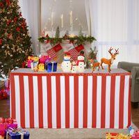 decorações de casamento toalhas de mesa venda por atacado-Clássico vermelho e branco listrado saia de mesa de mesa de casamento toalha de mesa de casamento saias para decoração de casamento saias de mesa de banquete