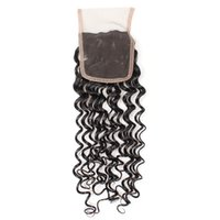 Wholesale top quality virgin human hair online - Mink Brazilian Peruvian Malaysian Virgin Human Hair Lace Closure pc Top A Middle Brown Color inch Free Part Good Quality Deep Wave