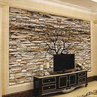 Wholesale waterproofing stone walls - Custom Photo Wallpaper 3D Stone Wall Trunk Wallpaper Living Room Sofa TV Background Wall Murals Wallpaper Papel De Parede 3D