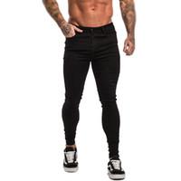 sıkı kot sıska erkek toptan satış-Skinny Jeans Erkekler Siyah Streetwear Klasik Hip Hop Streç Kot Slim Fit Moda Biker Stil Sıkı Dropshipping Kot erkek pantolon S1012