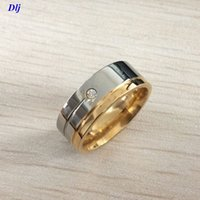 Wholesale womens gold wedding rings - Free Shipping 8MM Mens Womens Fashion luxury Titanium Stainless Steel gold silver plated Band Ring US Size 7-12
