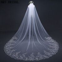 Wholesale 3m Accessories - Crystals Wedding veils beaded long 1 layer cathedral lace edge bridal veils 2018 new designer 3m 4m veils wedding accessories
