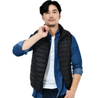 ingrosso maglia manica lunga-New Long Sleeve Mens Solid Down Vest Zipper Warm Windproof Outwear Winter Gilet Cappotti Drop Shipping