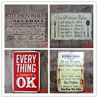 Wholesale art painting quotes - Hot 50pcs Poem Funny Family Life Kitchen Rule Quote Metal Painting Store Vintage Posters Wall art Decor
