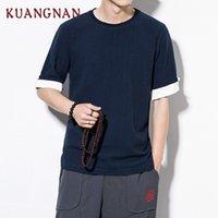 camisa de algodón negro de kung fu al por mayor-KUANGNAN Chino Kung Fu Camiseta Hombres Algodón Lino Negro Hombres Camiseta Vintage Hombres Camisetas Divertidas camiseta 2018 Ropa de Verano