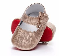 Wholesale ballet moccasins resale online - New soft red sole baby moccasins pu leather shoes baby girls ballet princess shoes mary jane first walk colors for M