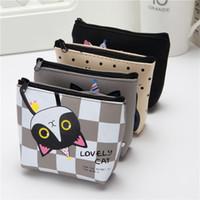 hand embroidered girls dress UK - Korean cute creative zero wallet kitty silicone key bag cartoon girl student hand small wallet