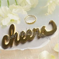 Wholesale bridal shower events - Free Shipping 50PCS Gold Cheer Bottle Opener Wedding Favors Bridal Shower Favors Party Favors Event Giveaways Wine Opener