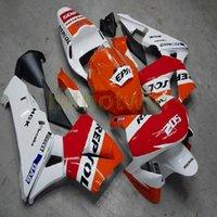 vücut özel cbr toptan satış-Cıvata + Özel repsol turuncu beyaz ABS yarış versiyonu CBR600RR 2003-2004 CBR 600RR için Plastik motosiklet vücut kiti Fairing