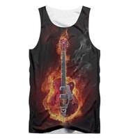 gitarrenhals verkauf großhandel-3d Tank Top Heißer Verkauf Männer Kühlen Druck Flaming Guitar Tanktops Männlichen Hip Hop Streetwear Sleeveless O Neck Shirt Weste Großhandel