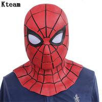 demir örümcek maskesi toptan satış-Yeni Sıcak Film Örümcek Adam Homecoming Avengers Infinity Savaş Demir Örümcek Adam Cosplay Kostümleri Likra Maske Süper Kahraman Lensler 3D Mask ...
