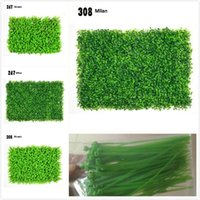 Wholesale artificial lawn grass - 5 models of simulation plant wall milan grass eucalyptus artificial lawn plastic simulation lawn background decorative plant wall