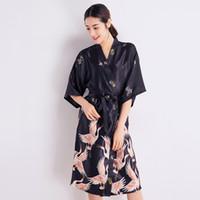 791dab97a5 BLACK Female New Print Sleepwear Sexy Women Silky Robe Summer Kimono  Bathrobe Satin Home Wear Long Nightgown Casual Home Dress