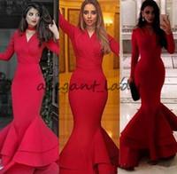 kim kardashian vestido de sereia azul venda por atacado-Kim Kardashian Sexy Sereia Evening Vestidos Formais com Mangas 2018 Com Decote Em V Ruffles Trem Plus Size Fishtail Red Prom Vestido de Celebridades