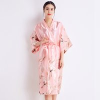 17a9317d1c Summer Women Pink Sleepwear Sexy Bride Bridesmaid Wedding Robe Rayon Kimono  Bathrobe Long Print Nightdress Casual Home Clothes