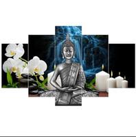 ingrosso porcellana moderna di pittura-Cina Bamboo Thai Statua di Buddha 5 Pcs Tela Pittura Murale Arte Moderna Decorazione Della Casa HD Stampato Wall Art Picture Pittura