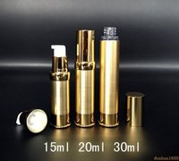 Wholesale 15ml airless cosmetic bottles - 200pcs 15ml 20ml 30ml Gold Silver Empty Airless Pump Container Travel Metal Essential Lotion Cream Cosmetic Bottle With Pump