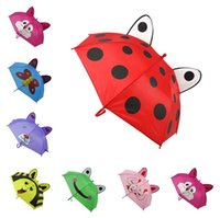Wholesale wholesale animal umbrellas - Hot sale 8K Lovely children Umbrella 3D Cartoon animals baby umbrella children Long handle Cartoon umbrella T3I0380