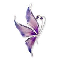 ingrosso regali farfalla viola-Nuovo arrivo mamma regali viola smalto strass farfalla spilla pin per abito collare sciarpa donne partito