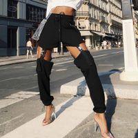ingrosso collant blu bambino-Vendita calda trendy pantaloni casual neri donne autunno 2018 streetwear kpop moda pantaloni lunghi stile punk fitness jogging pantaloni sportivi