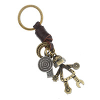 Wholesale robot keychain metal - CHAOMO manufacturers jewelry wholesale handmade key pendant alloy robot male keychain leather personality fashion accessories