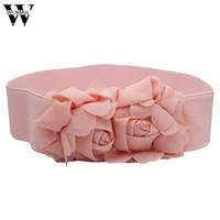 Wholesale Amazing Red Roses - Amazing Fashion Double Rose Flower Buckle Elastic Waist Belt Lady Waistband