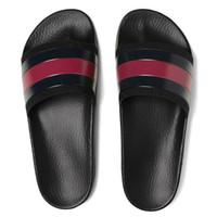 las mejores zapatillas de piel para hombre. al por mayor-Moda cuero hombre mujer sandalias a rayas causales antideslizantes huaraches verano zapatillas chanclas zapatillas MEJOR CALIDAD TAMAÑO 4-11