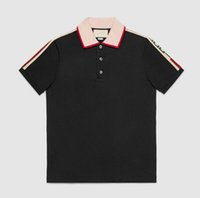 Wholesale Mens Black Polos - 2018 Italy designer polo shirt t shirts Luxury Brand snake bee floral embroidery mens polos High street fashion stripe print polo T-shirt