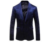 mens red casual blazer toptan satış-Mavi Kadife Blazer Ceket Marka Slim Fit Çiçek Baskı Blazer Erkekler Balo Sonbahar Şarap Kırmızı Erkek Blazers Casual Giymek