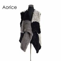 Wholesale knitted rabbit vest for sale - Pudi VR078 Knitted knit new real rabbit fur vest overcoat jacket women winter warm genuine fur vest impacting color