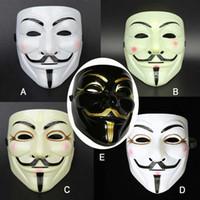 adam fawkes maske kostüm toptan satış-Cadılar bayramı Partisi 5 Stil Vendetta V kelime Maske Kostüm Guy Fawkes Anonim Cadılar Bayramı Maskeleri Fantezi Cosplay