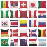 Wholesale country gifts home decor - New Country Flag Pillow Case Cover 32 Soccer Football Logo Cover Throw Cushion Cover Home Car Sofa Decor Club Gifts HH7-958
