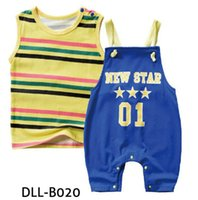 Wholesale kids yellow tank top for sale - Group buy Baby kids Pieces sets Gentleman Suit Kids Boy Cotton Tank Tops Rompers Kids Clothing Sets colors