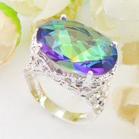 topaz gemstone men rings Australia - Vintage new fine 925 Silver Rainbow Mystic Topaz gemstone Men Women Ring free shipping CR0650