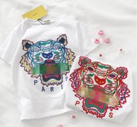 Wholesale baby girl tiger - Children T-shirts Summer SUPRES New Arrival Fashion Tiger Head embroidery Clothing Baby Boys Girls Short Sleeves Cotton Kid T shirts