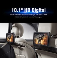 Wholesale tv tuners for car dvd - 10.1 inch HD screen Car DVD player for clip-on headrest with controller dvd and game function black