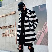 ingrosso cappotti di lana coreani di mens-Uomo inverno plaid lungo cappotto di lana doppio petto giacca di lana mens stile coreano lungo cappotto di trincea casual cappotto manteau homme