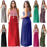 fe34485b4c1 Wholesale size xxl summer dresses online - 8styles Summer Sleeveless  Striped Long dress Round Neck Slim