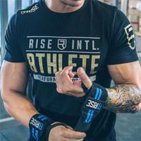 impresión de ropa de fitness al por mayor-Hombres Gimnasios de verano marca de fitness T -Shirt Crossfit Bodybuilding camisas delgadas O cuello cuello manga corta camiseta de algodón Tops