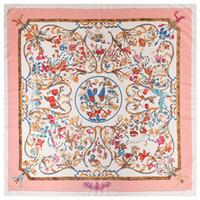 châle rose achat en gros de-Nouveau Twill Foulard En Soie Femmes Poncho Rose Hijab Angelo Imprimé Foulards Carrés Grand Châles De Mode Wraps Femme Bandana 130 cm * 130 cm