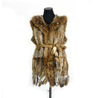 Wholesale knitted rabbit vest for sale - Pudi VR061 Genuine rabbit fur long vest women s girls warm real fur black white brown jacket with raccoon fur collar plus size