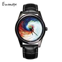 ingrosso pittura ad olio in pelle-Enmex Individualizzazione design orologio da polso cinturino in pelle vortex 3D design creativo olio dipinto moda orologio al quarzo