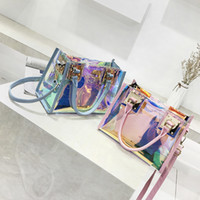 Wholesale clear pvc bag for sale - Group buy Transparent Hologram Hand Bags Ladies New Fashion Laser Crossbody Handbag PVC Female Big Tote Girl Clear Purses Bolso Mujer