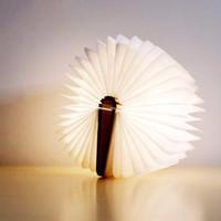 lámpara de escritorio led blanco cálido al por mayor-LED USB recargable de madera plegable forma de libro lámpara de escritorio Nightlight Booklight para la decoración del hogar cálido blanco luz