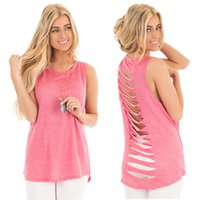Wholesale t back tank tops women - Women Summer Tshirts Tank Tops Back Holes Design O-neck Long T-shirt Tees for Female Casual Beach Clothing