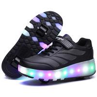 tekerlekli paten kaykay ayakkabıları toptan satış-Çocuk LED Işık Ayakkabı Çocuklar Parlayan Sneakers Ile Tekerlekler Erkek Kız Kız Paten Rahat Ayakkabılar Yetişkin Zapatillas