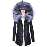 casaco modelo feminino venda por atacado-Atacado-Factory Direct Fornecedor Casaco de Inverno Mulheres Casacos de espessura Artificial Moda Slim Camurça Modelos Femininos de couro de Pele De Raposa Gola h1z1
